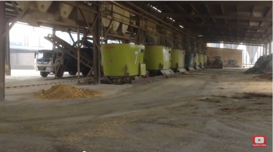 Feeding station on one of the biggest farms in China